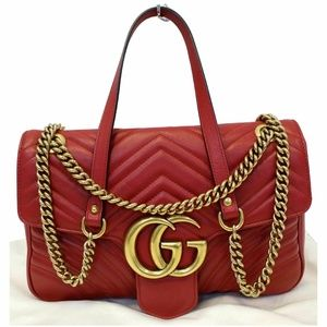 GUCCI GG Marmont Matelasse Shoulder Bag Red 443496
